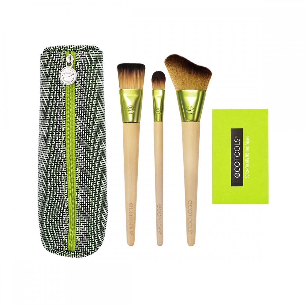 TRAVEL AND GLOW BEAUTY KIT: 3 fırça+kosmetik çanta+salfet